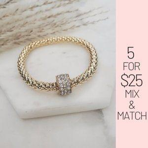 Jewelry - 5 for $25 Gold Color Rhinestone Charm Bracelet